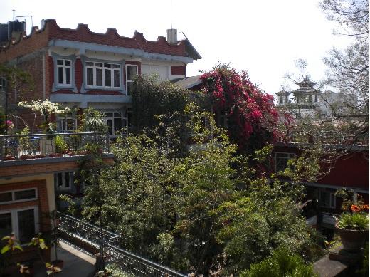 Vue depuis la terrasse de mon hôtel à Katmandou, Népal.